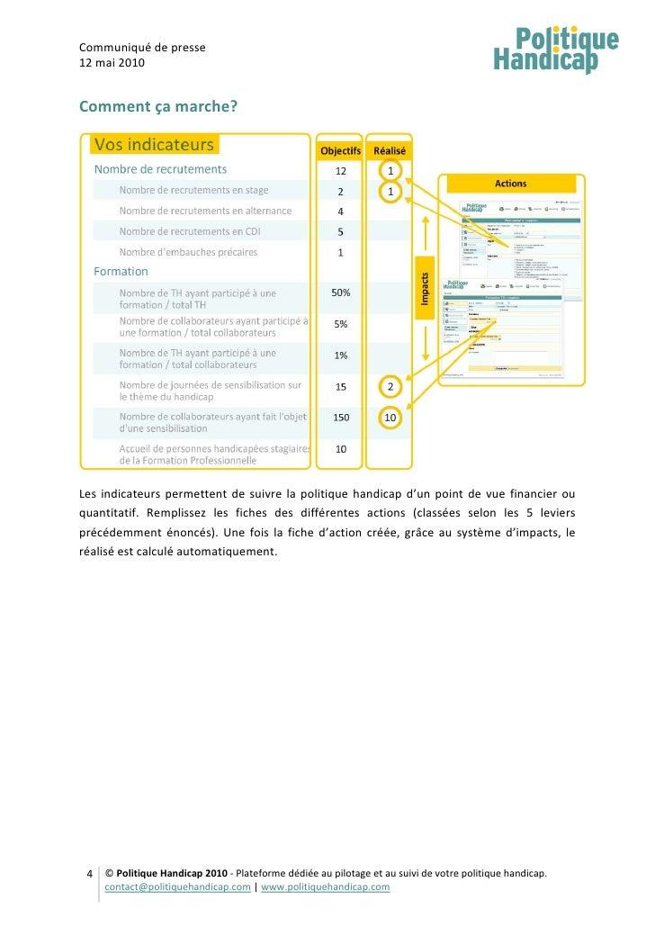 Communiqué de presse 12 mai 2010   Comment ça marche?     Les indicateurs permettent de suivre la politique handicap d'un ...