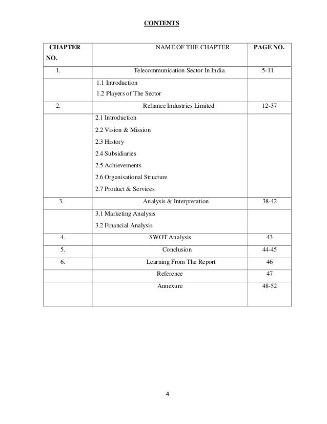 project report on financial analysis of reliance industry limited pdf