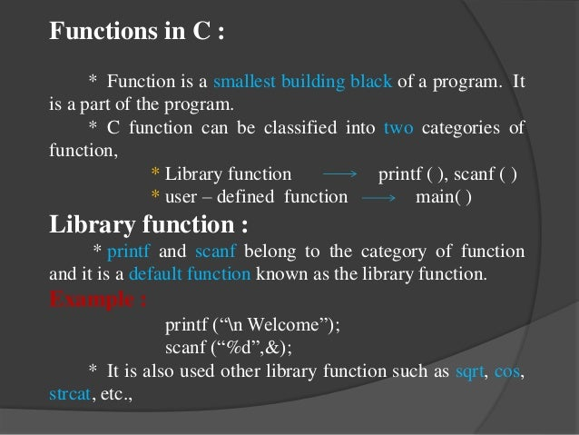 C and C++ functions