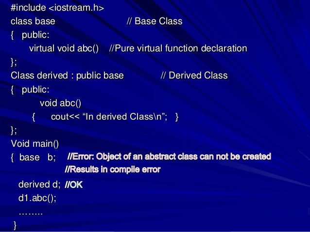 abstract base class and polymorphism in c
