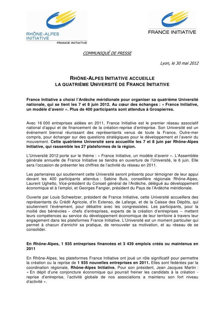 COMMUNIQUÉ DE PRESSE                                                                         Lyon, le 30 mai 2012         ...