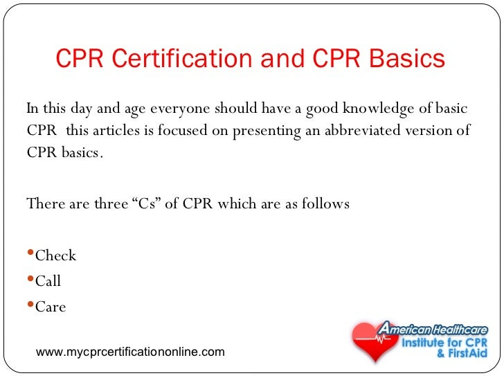 Cpr Certification And Cpr Basics