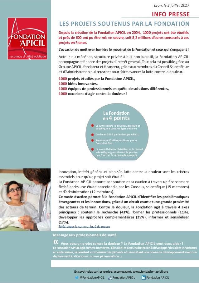 Message aux professionnels de santé « Vous avez un projet contre la douleur ? La Fondation APICIL peut vous aider ! La Fon...