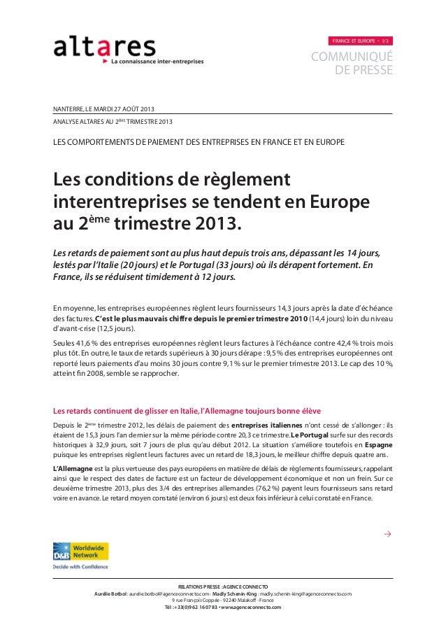 nanterre,LE MARDI 27 AOÛT 2013 analyse altares au 2ème trimestre 2013 les comportements de paiement des entreprises EN FRA...