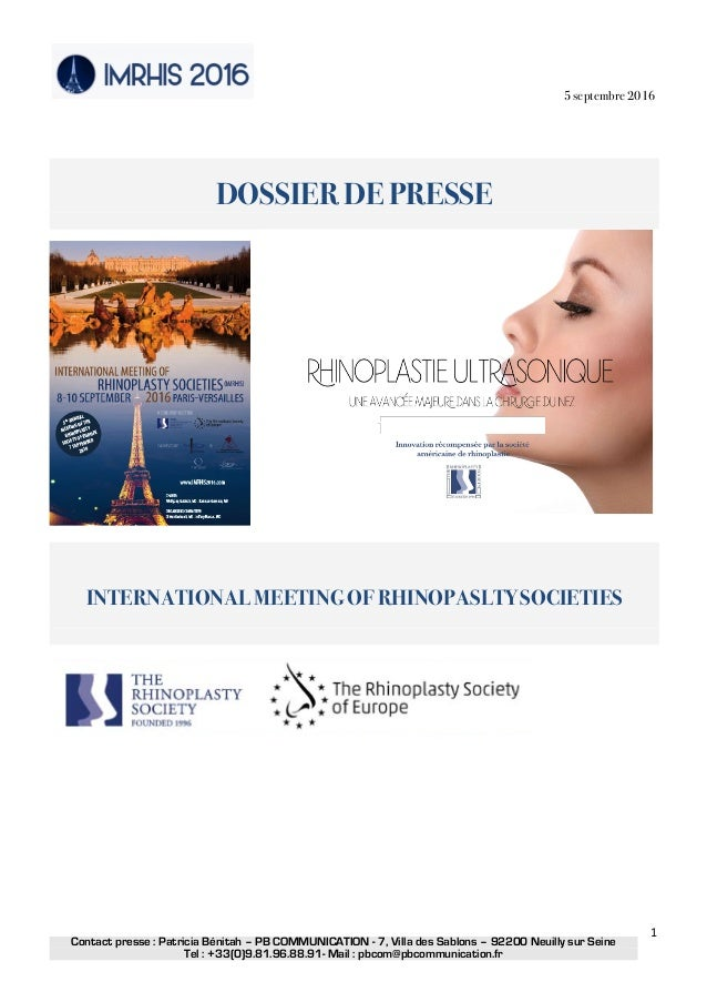 5 septembre 2016 Contact presse : Patricia Bénitah – PB COMMUNICATION - 7, Villa des Sablons – 92200 Neuilly sur Seine Te...