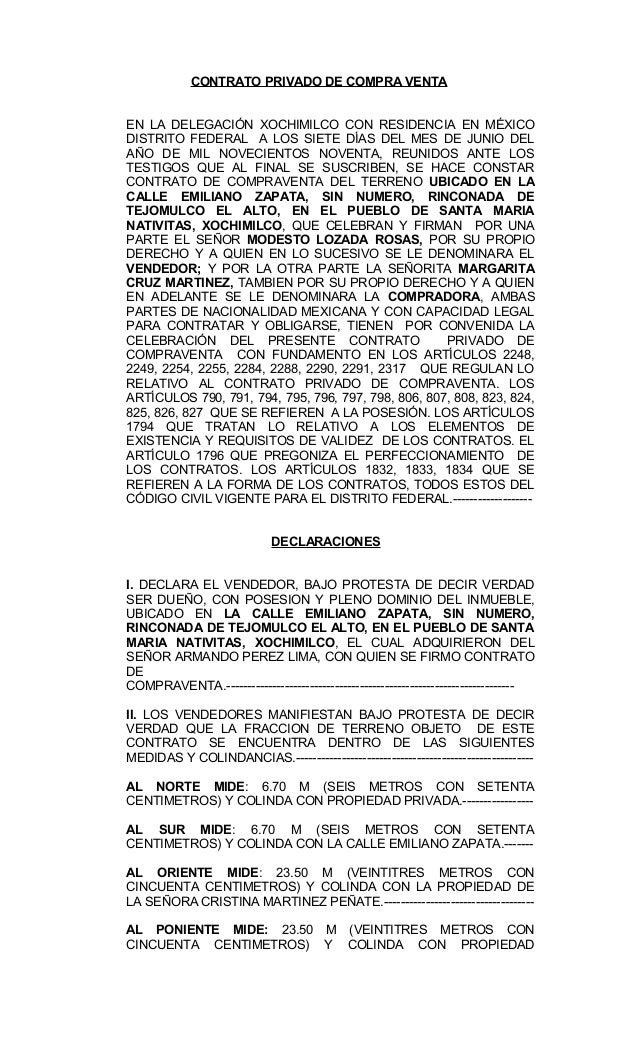 CONTRATO PRIVADO DE COMPRA VENTA EN LA DELEGACIÓN XOCHIMILCO CON RESIDENCIA EN MÉXICO DISTRITO FEDERAL A LOS SIETE DÍAS DE...