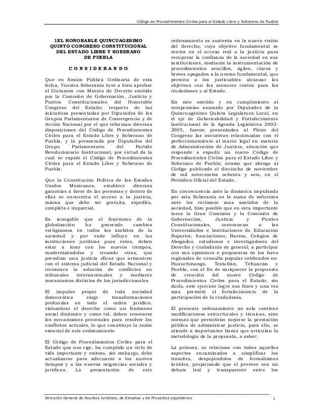 Código de Procedimientos Civiles para el Estado Libre y Soberano de Puebla  1EL HONORABLE QUINCUAGESIMO QUINTO CONGRESO CO...