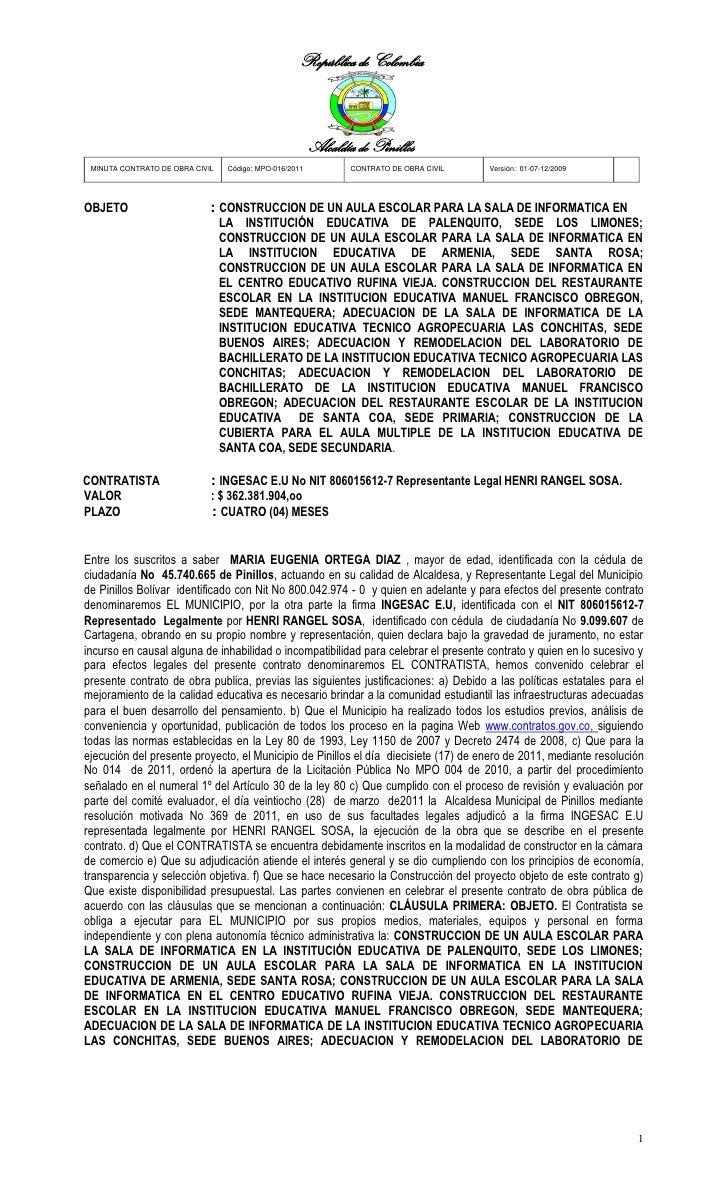 República de Colombia                                                         Alcaldía de Pinillos MINUTA CONTRATO DE OBRA...