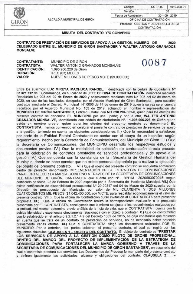 .. ALCALDÍA MUNICIPAL DE GIRÓN Código: OC—F.09 1010.028.01ç.. Versión 00 T1tTT Fecha de Aprobación: 30-09- 2019 OFICINA bÉ...