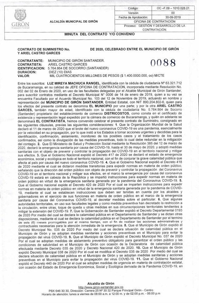 -. ALCALDÍA MUNICIPAL DE GIRÓN Código: OC —F.09 — 1010.028.01 Versión 00 CIRQN Fecha de Aprobación: 30-09-2019 OFICINA DE ...