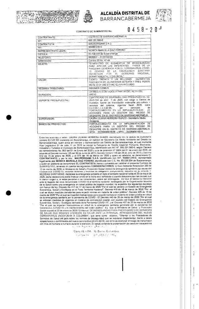 Contrato suministro Bioseguridad - Barrancabermeja