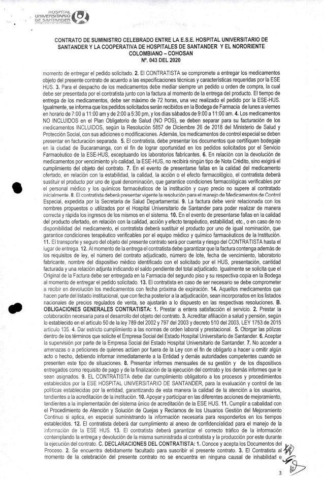 Contrato COHOSAN con Hospital Universitario de Santander Slide 3