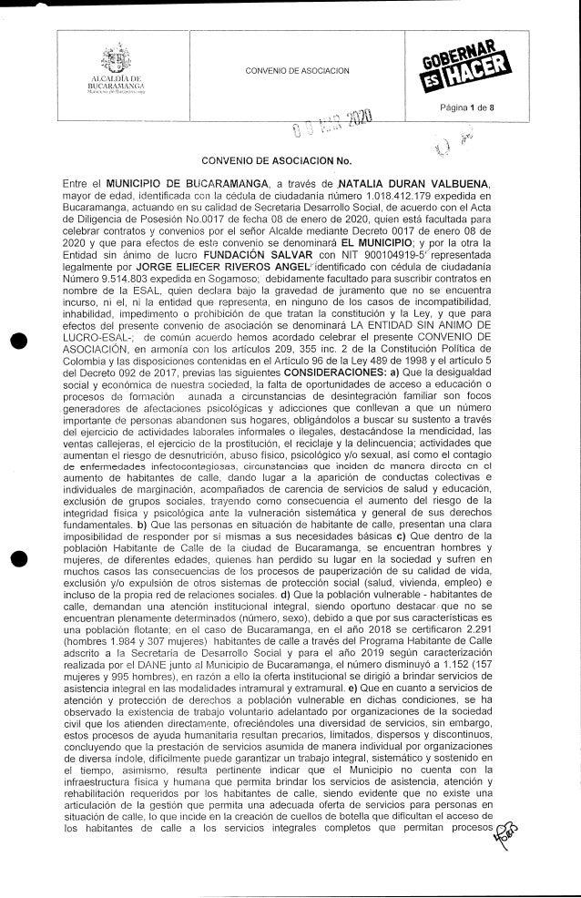 Contrato Fundación Salvar - Alcaldia de Bucaramanga