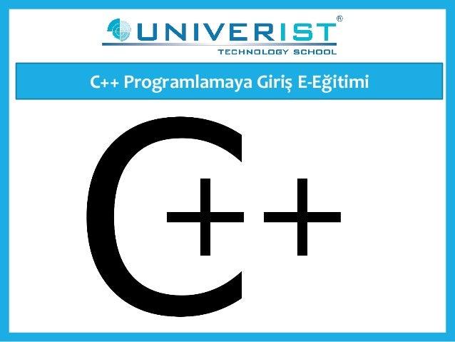 C++ Programlamaya Giriş E-Eğitimi