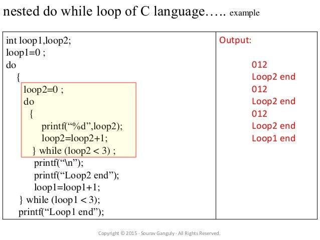 c program language tutorial for loop while loop do while loop