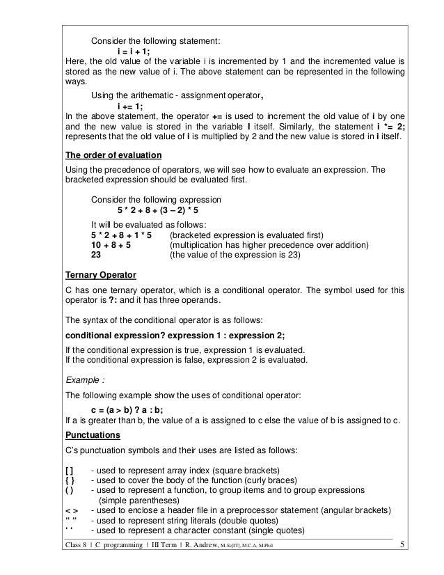 C Programming Class 8 Iii Term