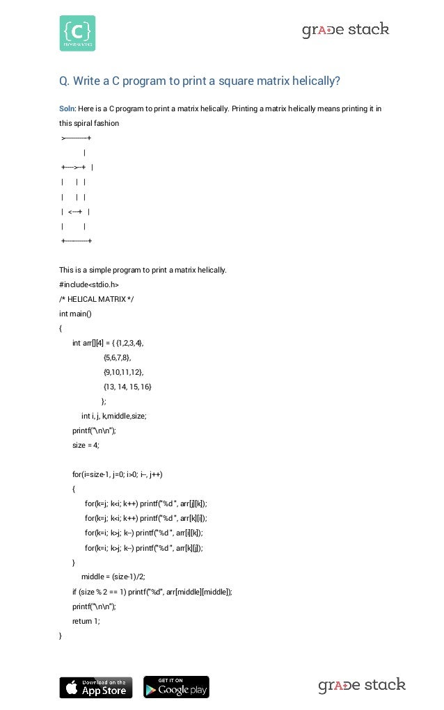 Print a Square Matrix in Spiral Form