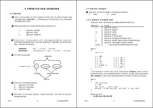 -1-4 OPERATOR DAN UNGKAPANData yg disimpan di dlm ingatan (lihat bab 3) boleh diolah dgnmenggunakan operator . C mempunyai...