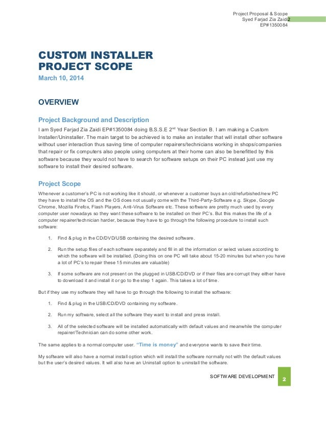 Project Proposal Software Pack Solution 14