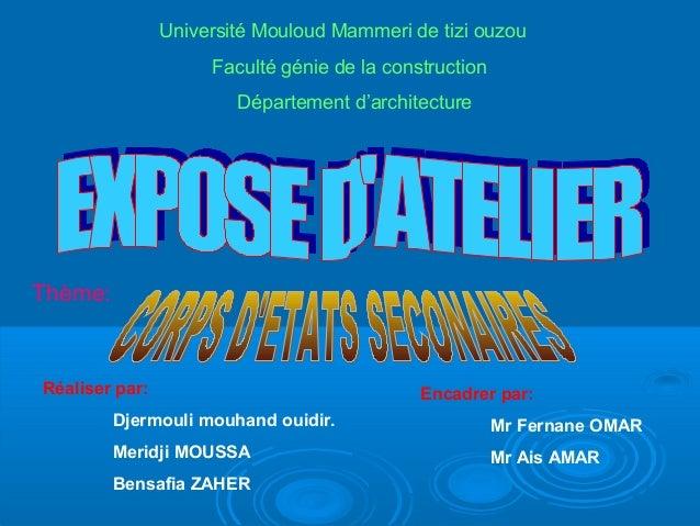Réaliser par: Djermouli mouhand ouidir. Meridji MOUSSA Bensafia ZAHER Encadrer par: Mr Fernane OMAR Mr Ais AMAR Université...
