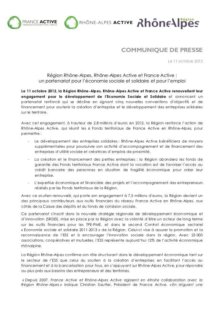 COMMUNIQUE DE PRESSE                                                                                Le 11 octobre 2012    ...