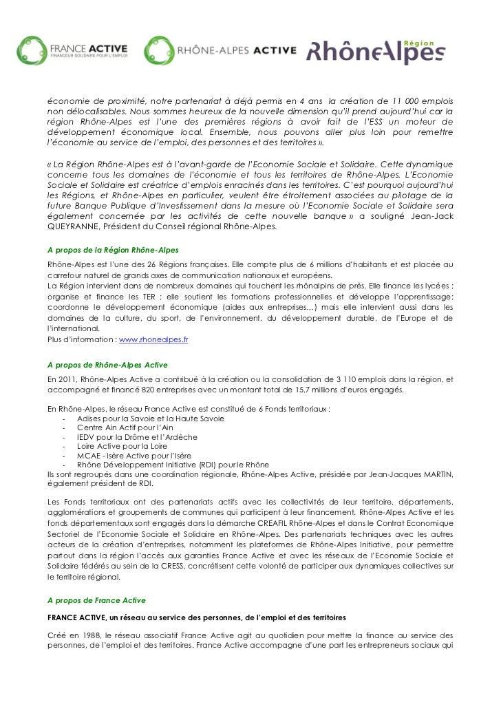 Communiqué de presse - Région Rhône-Alpes, France Active et Rhône-Alpes Active Slide 2