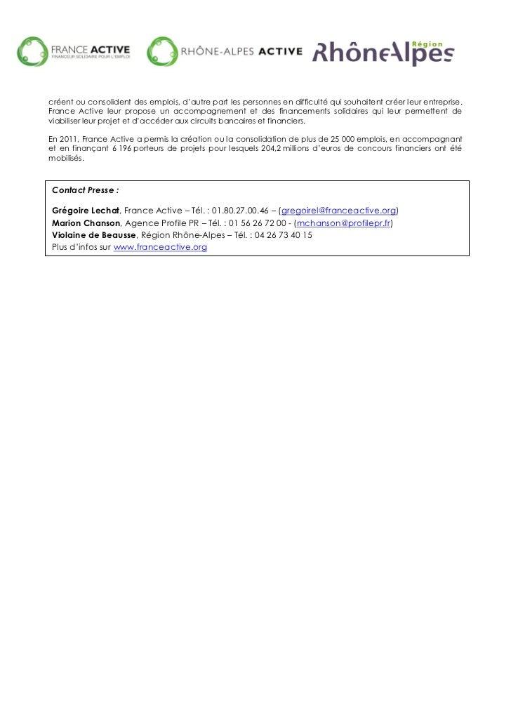 Communiqué de presse - Région Rhône-Alpes, France Active et Rhône-Alpes Active Slide 3