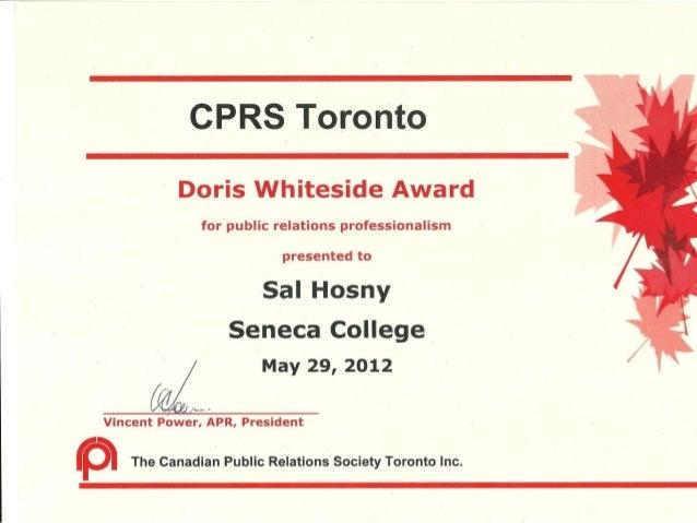 Cprs toronto corp com award