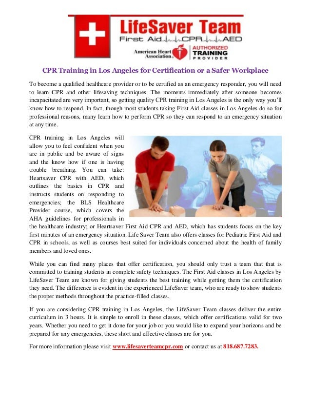 Cpr Training In Los Angeles For Certification Or A Safer Workplace