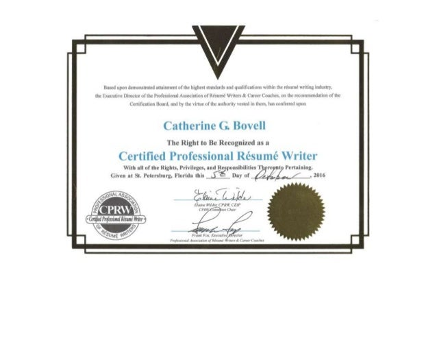 Professional Rsum Writer CPRW Certification
