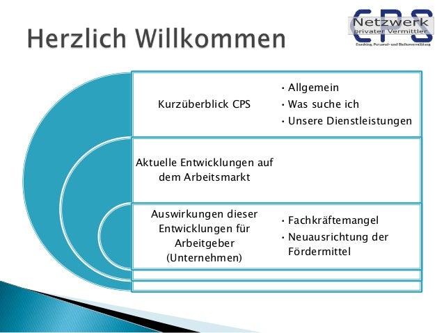 • Allgemein Kurzüberblick CPS  • Was suche ich • Unsere Dienstleistungen  Aktuelle Entwicklungen auf dem Arbeitsmarkt Ausw...
