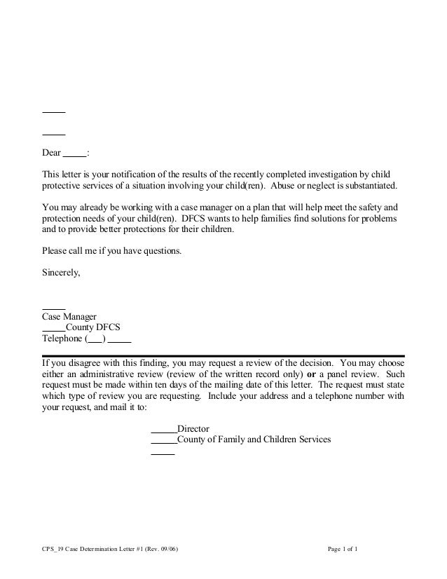 Cps 19 case determination letter