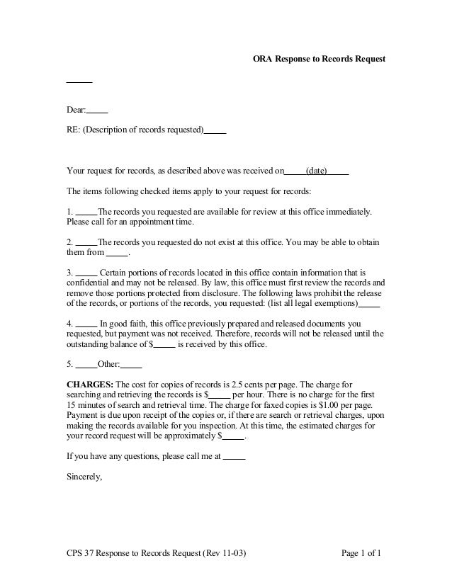 Cps 37 letter to person requesting record – Good Faith Payment Letter