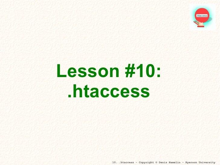 Lesson #10: .htaccess