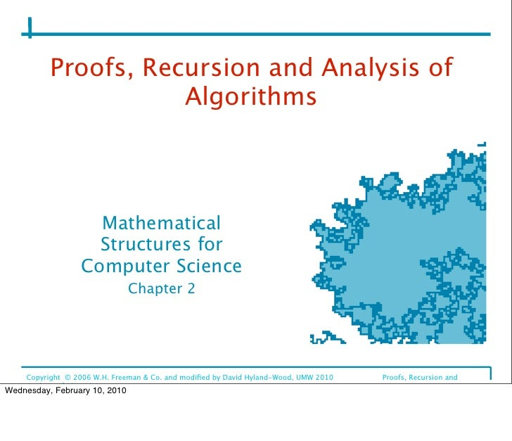 Proofs, Recursion and Analysis of                      Algorithms                         Mathematical                    ...