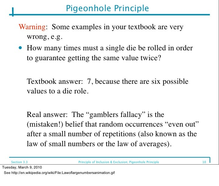 the pigeonhole principle forms Pigeonhole principle if k+1 or more objects are placed into k boxes, then there is at least one box containing pigeonhole principle says that two of them must have the same value a subsequence of this sequence is a sequence of the form ai1, ai2,, aim, where 1 ≤ i1  i2      im ≤ n • a.