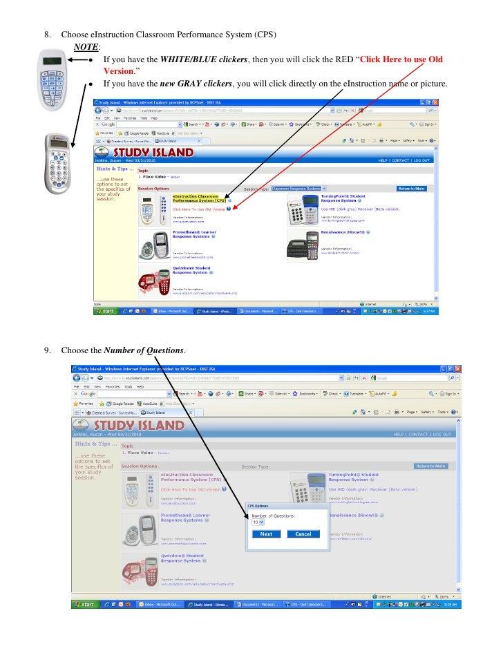 CPS / Einstruction Clickers In Study Island Newcheatsheet