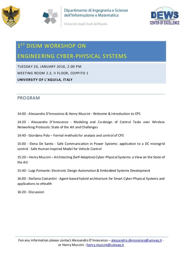 1st Disim Workshop On Engineering Cyber Physical Systems