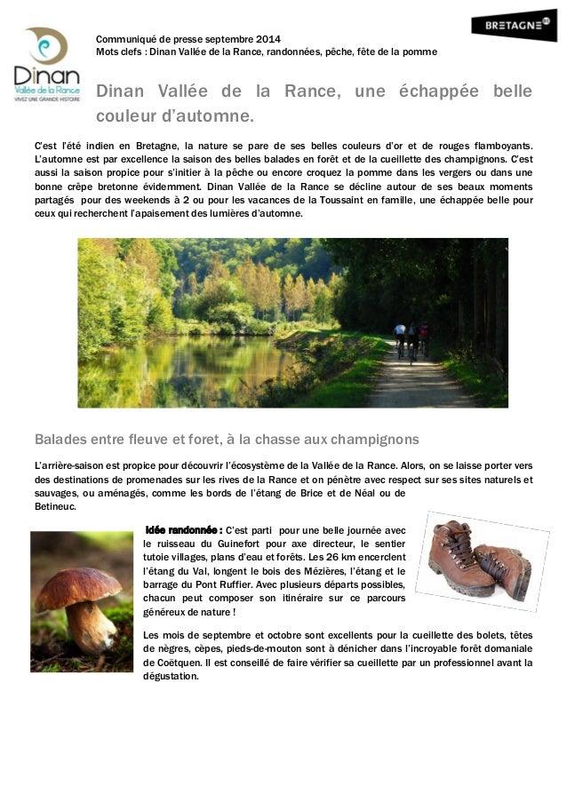 Communiqué de presse septembre 2014  Mots clefs : Dinan Vallée de la Rance, randonnées, pêche, fête de la pomme  Dinan Val...