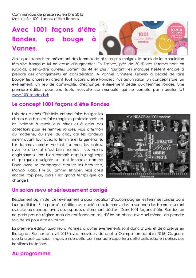 Communiqué de presse septembre 2015 Mots clefs : 1001 façons d'être Rondes. Avec 1001 façons d'être Rondes, ça bouge à Van...