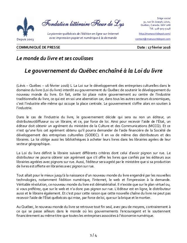1/4 Depuis2003  Lepionnierquébécoisdel'éditionenlignesurInternet avecimpressionpapieretnumériqueà...