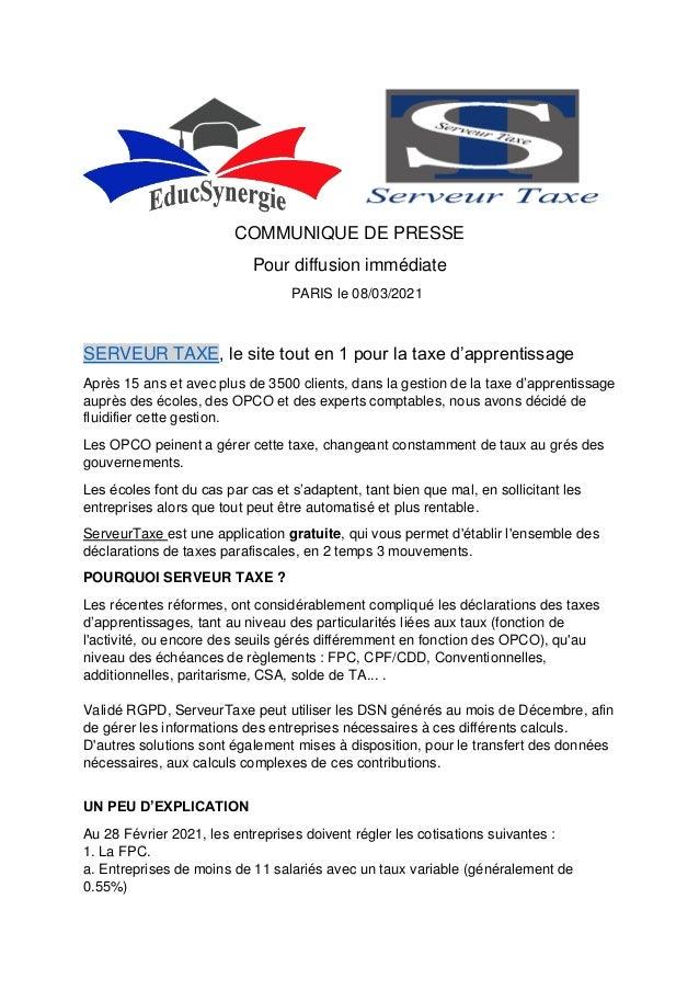 COMMUNIQUE DE PRESSE Pour diffusion immédiate PARIS le 08/03/2021 SERVEUR TAXE, le site tout en 1 pour la taxe d'apprentis...