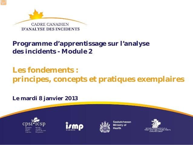 Programme d'apprentissage sur l'analysedes incidents - Module 2Les fondements :principes, concepts et pratiques exemplaire...