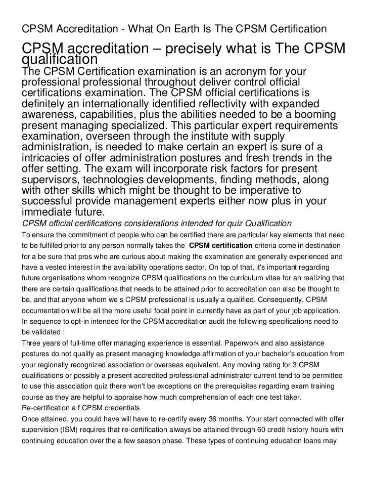 Cpsm Accreditation What On Earth Is The Cpsm Certification