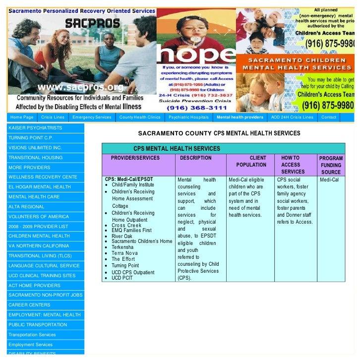 Cps Mental Health Services Sacramento County