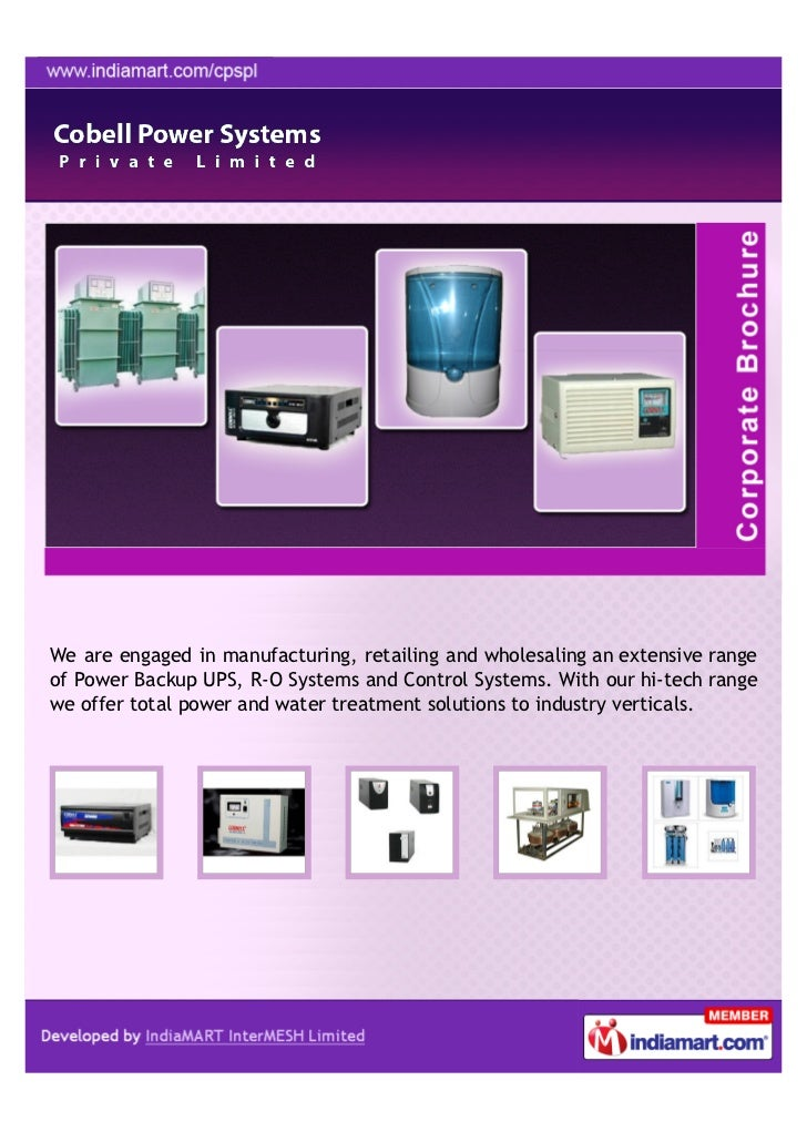 We are engaged in manufacturing, retailing and wholesaling an extensive rangeof Power Backup UPS, R-O Systems and Control ...