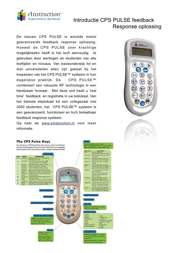 Introductie CPS PULSE feedback                                                    Response oplossing De nieuwe CPS PULSE i...