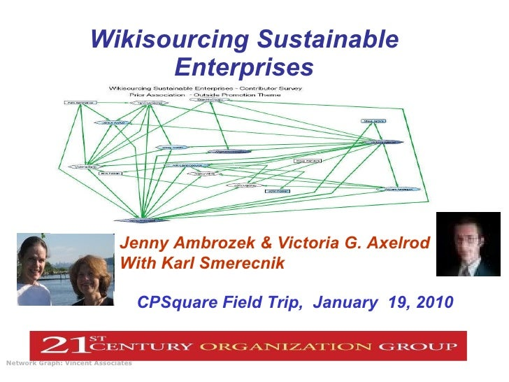 Wikisourcing Sustainable Enterprises Network Graph: Vincent Associates   CPSquare Field Trip,  January  19, 2010 Jenny Amb...