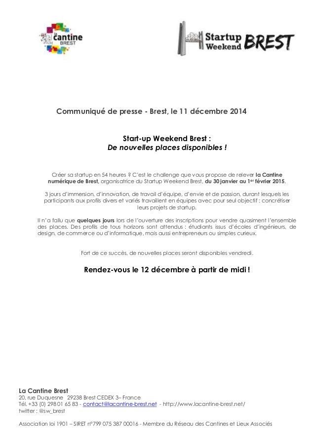 La Cantine Brest 20, rue Duquesne 29238 Brest CEDEX 3– France Tél. +33 (0) 298 01 65 83 - contact@lacantine-brest.net - ...