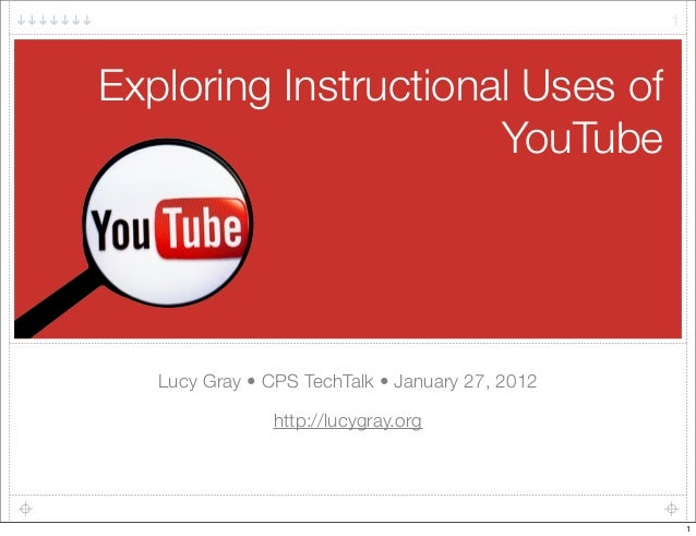 Exploring Instructional Uses of YouTube Lucy Gray • CPS TechTalk •January 27, 2012 http://lucygray.org 1 1